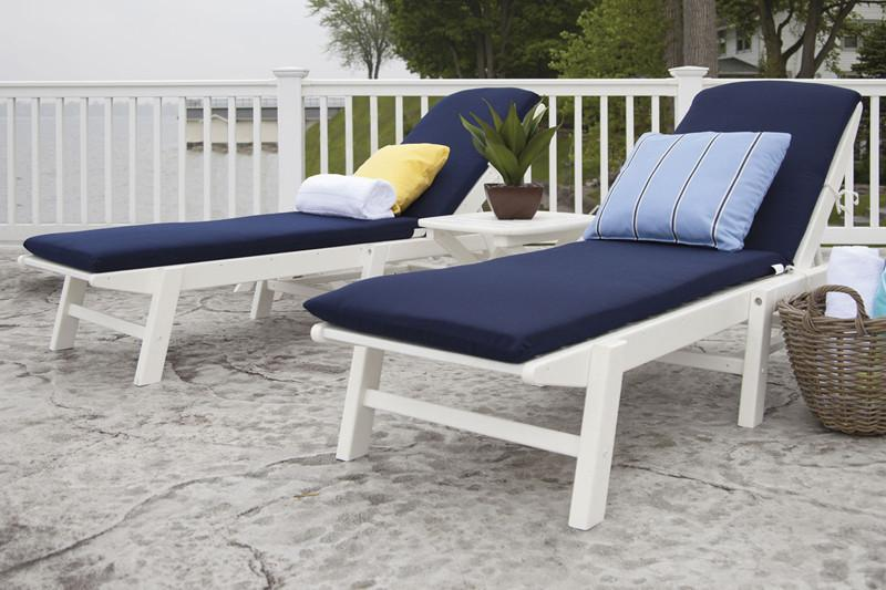 Polywood Chaise Set Cushions White Navy Nautical 5601