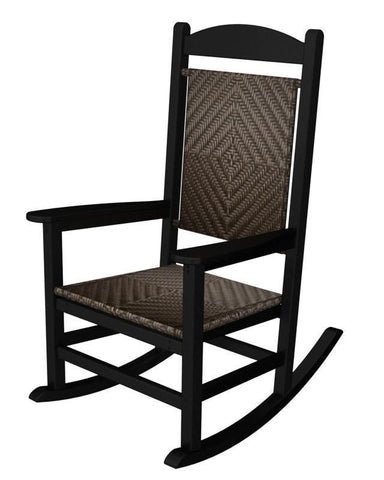 Polywood R200FBLCA Presidential Woven Rocker in Black Frame / Cahaba - PolyFurnitureStore