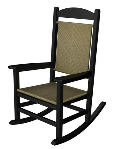Polywood R200FBLSG Presidential Woven Rocker in Black Frame / Seagrass - PolyFurnitureStore