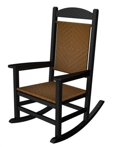 Polywood R200FBLTW Presidential Woven Rocker in Black Frame / Tigerwood - PolyFurnitureStore