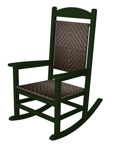 Polywood R200FGRCA Presidential Woven Rocker in Green Frame / Cahaba - PolyFurnitureStore