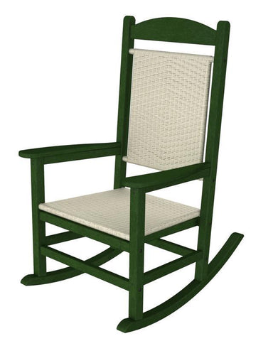 Polywood R200FGRWL Presidential Woven Rocker in Green Frame / White Loom - PolyFurnitureStore