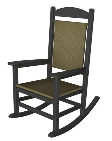 Polywood R200FGYSG Presidential Woven Rocker in Slate Grey / Seagrass - PolyFurnitureStore