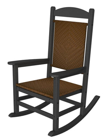 Polywood R200FGYTW Presidential Woven Rocker in Slate Grey / Tigerwood - PolyFurnitureStore