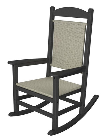 Polywood R200FGYWL Presidential Woven Rocker in Slate Grey / White Loom - PolyFurnitureStore