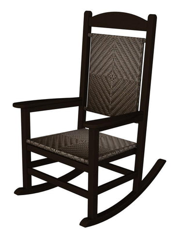 Polywood R200FMACA Presidential Woven Rocker in Mahogany Frame / Cahaba - PolyFurnitureStore
