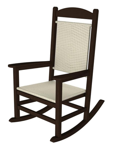 Polywood R200FMAWL Presidential Woven Rocker in Mahogany Frame / White Loom - PolyFurnitureStore