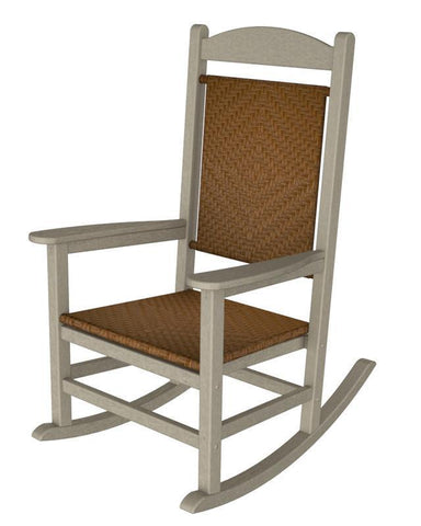 Polywood R200FSATW Presidential Woven Rocker in Sand Frame / Tigerwood - PolyFurnitureStore