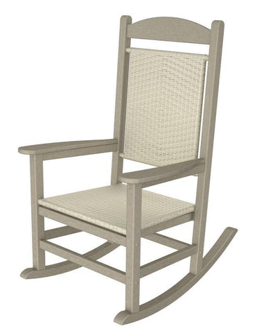 Polywood R200FSAWL Presidential Woven Rocker in Sand Frame / White Loom - PolyFurnitureStore