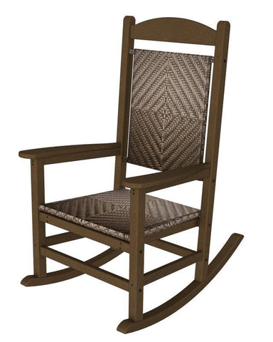 Polywood R200FTECA Presidential Woven Rocker in Teak Frame / Cahaba - PolyFurnitureStore