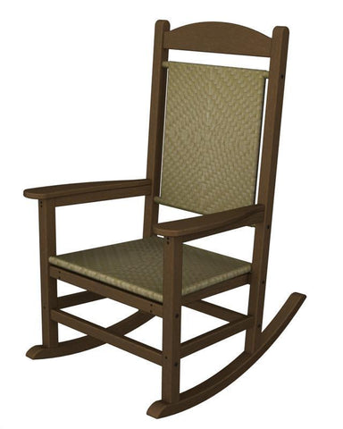 Polywood R200FTESG Presidential Woven Rocker in Teak Frame / Seagrass - PolyFurnitureStore
