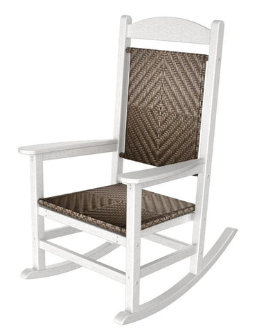 Polywood R200FWHCA Presidential Woven Rocker in White Frame / Cahaba - PolyFurnitureStore