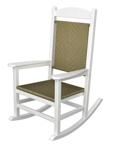 Polywood R200FWHSG Presidential Woven Rocker in White Frame / Seagrass - PolyFurnitureStore