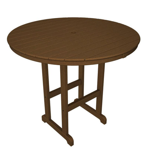 "Polywood RBT248TE Round 48"" Bar Table in Teak - PolyFurnitureStore"