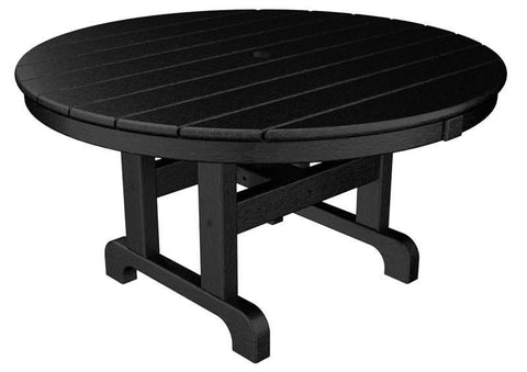 "Polywood RCT236BL Round 36"" Conversation Table in Black - PolyFurnitureStore"
