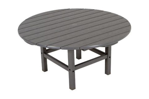 "Polywood RCT38GY Round 38"" Conversation Table in Slate Grey - PolyFurnitureStore"