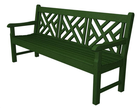 "Polywood RKCB72GR Rockford 72"" Chippendale Bench in Green - PolyFurnitureStore"