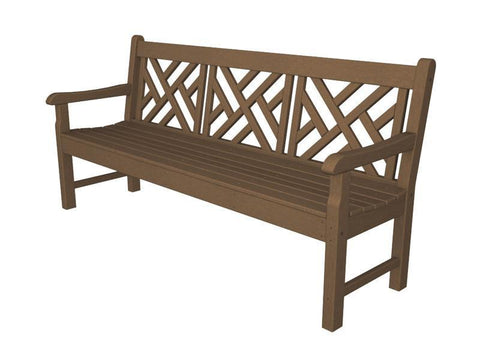 "Polywood RKCB72TE Rockford 72"" Chippendale Bench in Teak - PolyFurnitureStore"