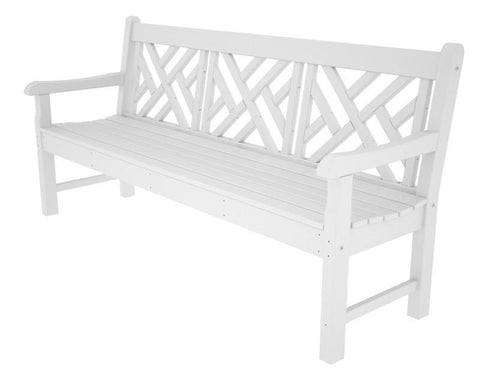 "Polywood RKCB72WH Rockford 72"" Chippendale Bench in White - PolyFurnitureStore"
