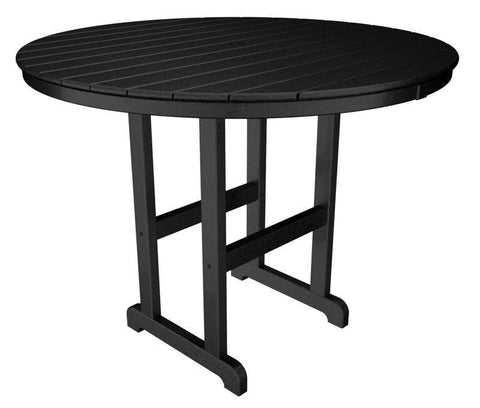 "Polywood RRT248BL Round 48"" Counter Table in Black - PolyFurnitureStore"
