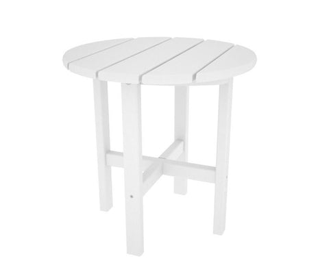 "Polywood RST18WH Round 18"" Side Table in White - PolyFurnitureStore"