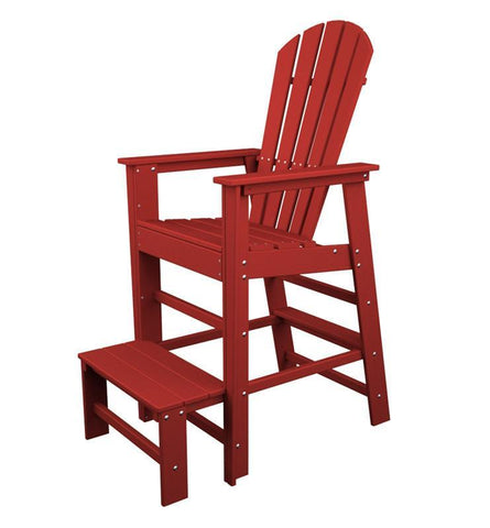 Polywood SBL30SR South Beach Lifeguard Chair in Sunset Red - PolyFurnitureStore