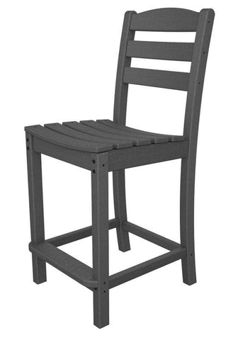 Polywood TD101GY La Casa Café Counter Side Chair in Slate Grey - PolyFurnitureStore