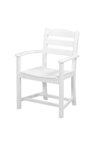 Polywood TD200WH La Casa Café Dining Arm Chair in White - PolyFurnitureStore