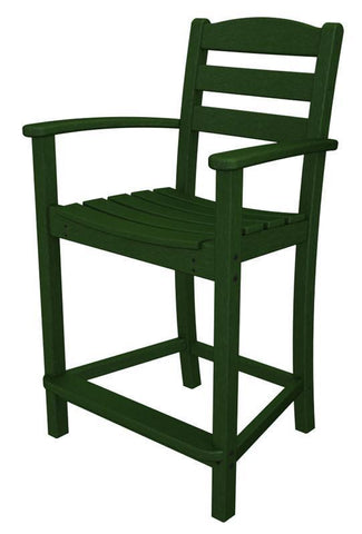 Polywood TD201GR La Casa Café Counter Arm Chair in Green - PolyFurnitureStore