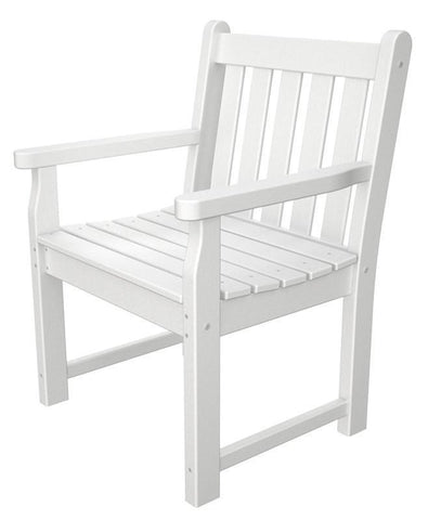 Polywood TGB24WH Traditional Garden Arm Chair in White - PolyFurnitureStore