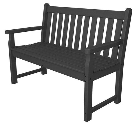 "Polywood TGB48GY Traditional Garden 48"" Bench in Slate Grey - PolyFurnitureStore"