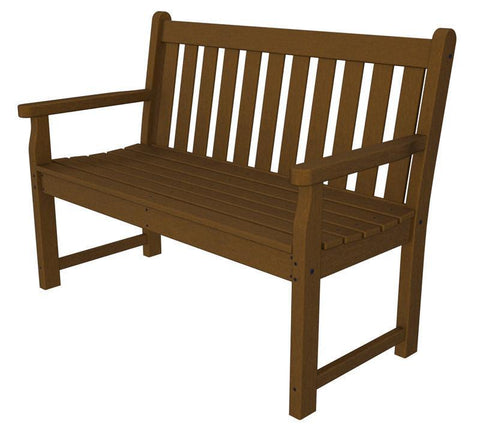"Polywood TGB48TE Traditional Garden 48"" Bench in Teak - PolyFurnitureStore"