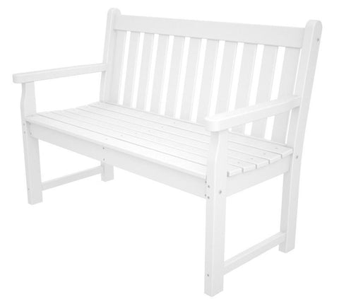 "Polywood TGB48WH Traditional Garden 48"" Bench in White - PolyFurnitureStore"