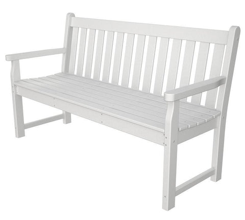 "Polywood TGB60WH Traditional Garden 60"" Bench in White - PolyFurnitureStore"