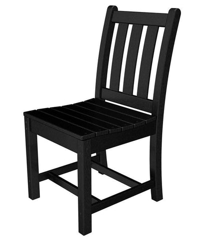 Polywood TGD100BL Traditional Garden Dining Side Chair in Black - PolyFurnitureStore