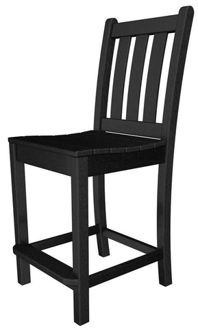 Polywood TGD101BL Traditional Garden Counter Side Chair in Black - PolyFurnitureStore