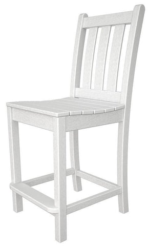 Polywood TGD101WH Traditional Garden Counter Side Chair in White - PolyFurnitureStore