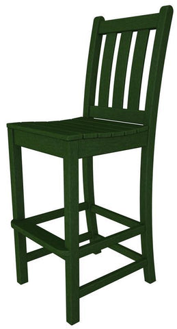 Polywood TGD102GR Traditional Garden Bar Side Chair in Green - PolyFurnitureStore