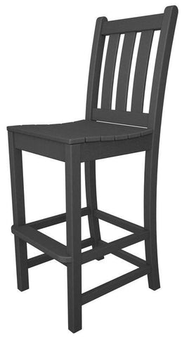 Polywood TGD102GY Traditional Garden Bar Side Chair in Slate Grey - PolyFurnitureStore