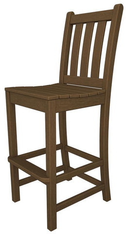 Polywood TGD102TE Traditional Garden Bar Side Chair in Teak - PolyFurnitureStore