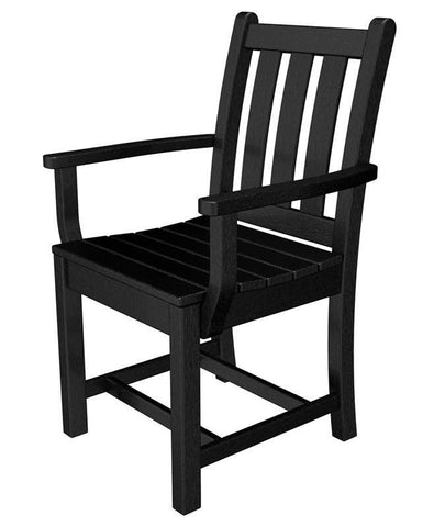 Polywood TGD200BL Traditional Garden Dining Arm Chair in Black - PolyFurnitureStore