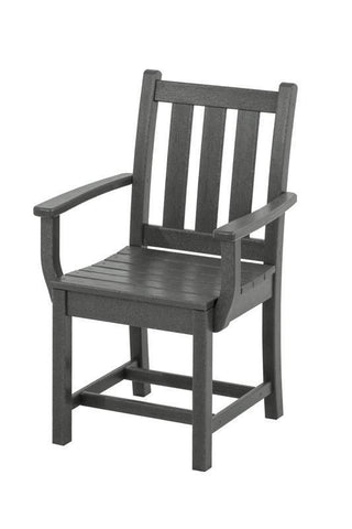 Polywood TGD200GY Traditional Garden Dining Arm Chair in Slate Grey - PolyFurnitureStore