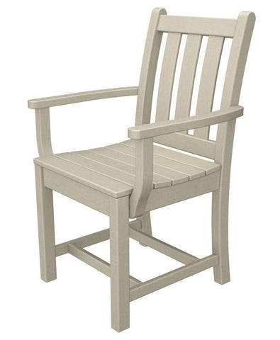 Polywood TGD200SA Traditional Garden Dining Arm Chair in Sand - PolyFurnitureStore