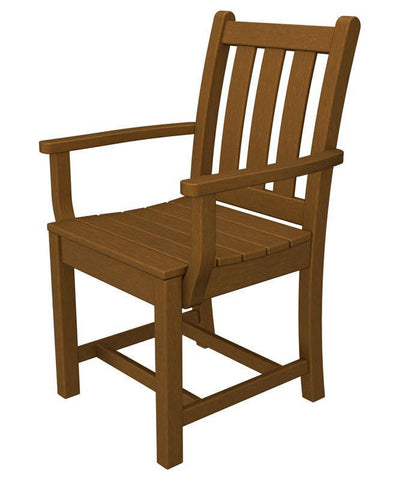 Polywood TGD200TE Traditional Garden Dining Arm Chair in Teak - PolyFurnitureStore