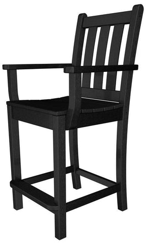 Polywood TGD201BL Traditional Garden Counter Arm Chair in Black - PolyFurnitureStore