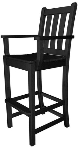 Polywood TGD202BL Traditional Garden Bar Arm Chair in Black - PolyFurnitureStore