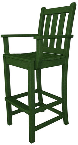 Polywood TGD202GR Traditional Garden Bar Arm Chair in Green - PolyFurnitureStore