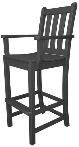 Polywood TGD202GY Traditional Garden Bar Arm Chair in Slate Grey - PolyFurnitureStore