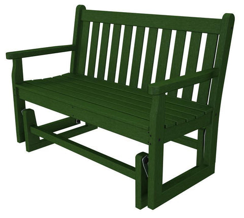 "Polywood TGG48GR Traditional Garden 48"" Glider in Green - PolyFurnitureStore"