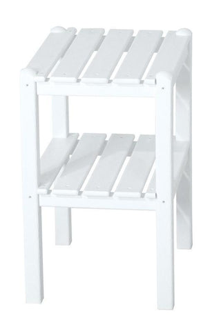 Polywood TWSTWH Two Shelf Side Table in White - PolyFurnitureStore